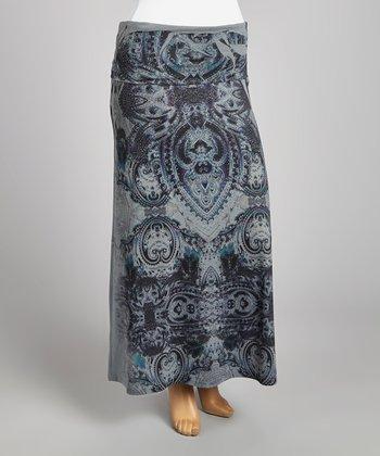Gray & Black Mehndi Maxi Skirt - Plus