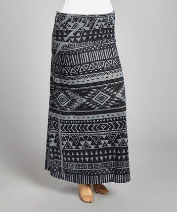 Gray & Black Tribal Maxi Skirt - Plus