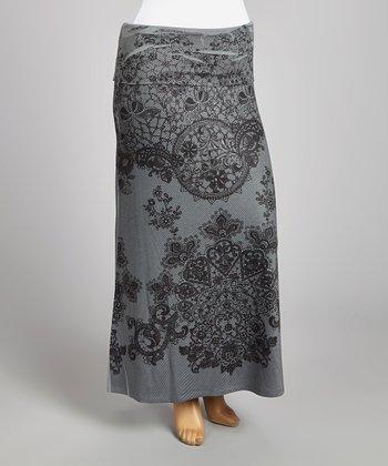 Gray & Black Paisley Maxi Skirt - Plus