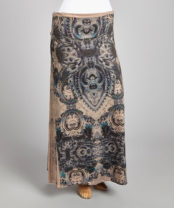 Tan & Black Mehndi Maxi Skirt - Plus