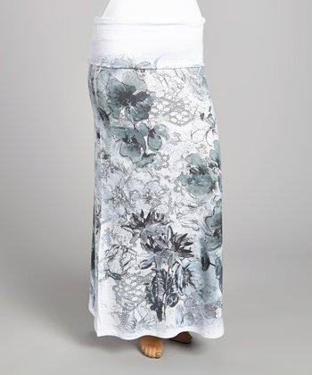White & Gray Floral Maxi Skirt - Plus