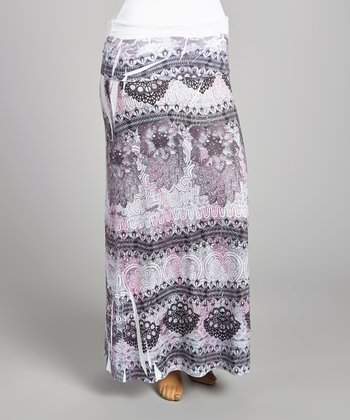 White & Black Swirl Maxi Skirt - Plus