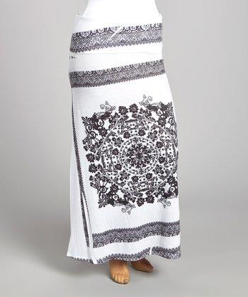 White & Black Border Maxi Skirt - Plus