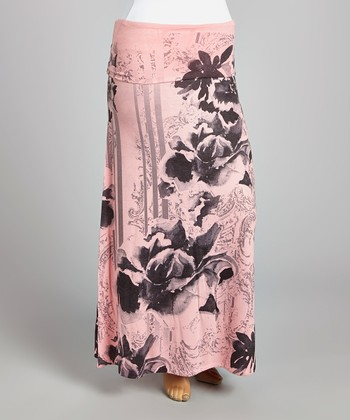 Pink & Black Floral Maxi Skirt - Plus