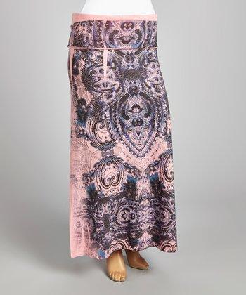 Pink & Black Mehndi Maxi Skirt - Plus
