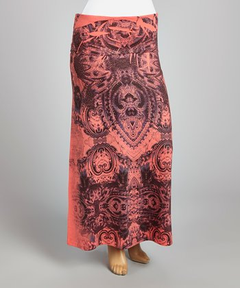 Coral & Black Mehndi Maxi Skirt - Plus
