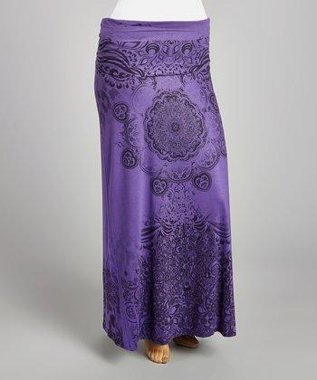 Purple & Black Medallion Maxi Skirt - Plus