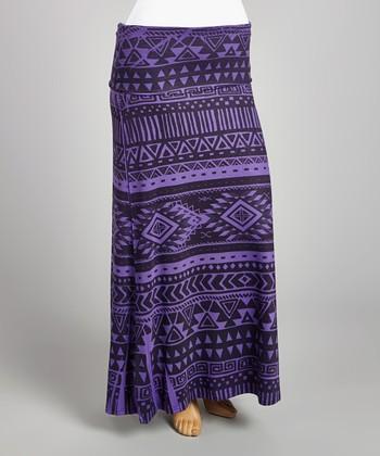 Purple & Black Tribal Maxi Skirt - Plus