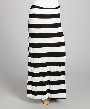 White & Black Stripe Maxi Skirt - Plus