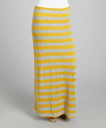 Yellow & Gray Stripe Maxi Skirt - Plus