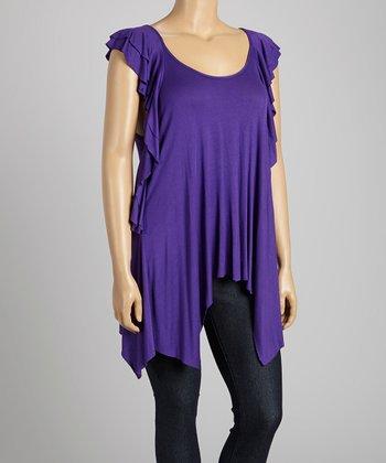 Purple Angel-Sleeve Top - Plus