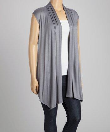 Gray Open Vest - Plus