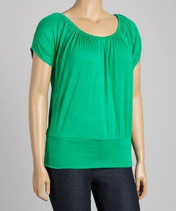Green Cape-Sleeve Top - Plus