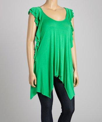 Green Angel-Sleeve Top - Plus