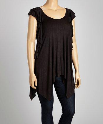 Black Angel-Sleeve Top - Plus