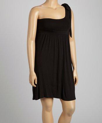 Black Asymmetrical Dress - Plus