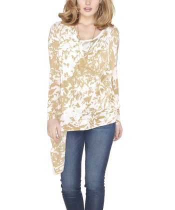 White & Camel Marbled Open Cardigan & Tank