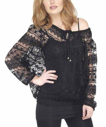 Black Lace Peasant Tunic