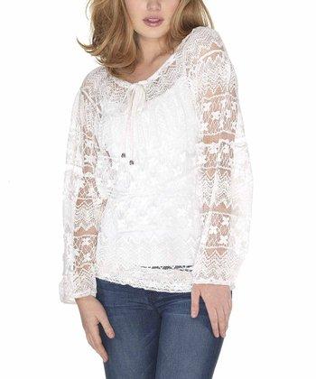 White Lace Peasant Tunic