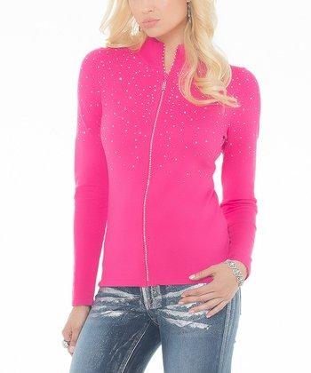 Haute Pink Rhinestone Zip-Up Cardigan