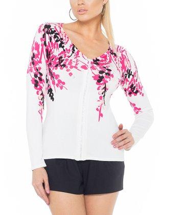 Haute Pink Embellished Zip-Up Cardigan