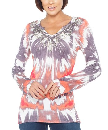 Coral Tie-Dye Sequin Tunic