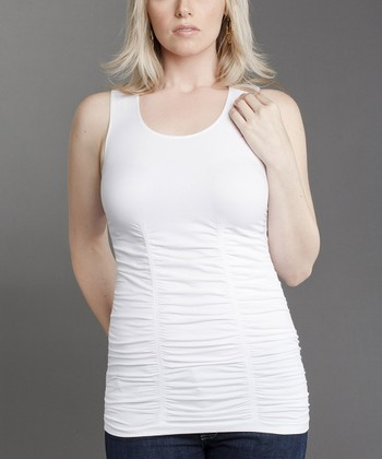White Ruched Tank