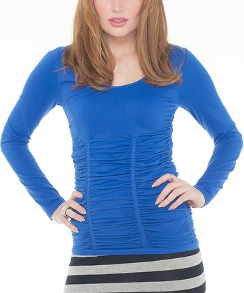 Cadet Blue Ruched Tee