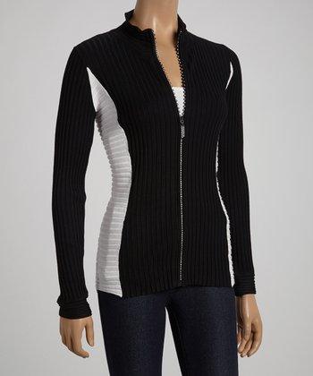Black & White Zip-Up Cardigan