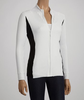 White & Black Zip-Up Cardigan