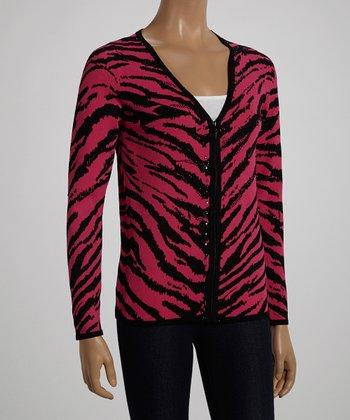 Haute Pink & Black Zebra Zip-Up Cardigan