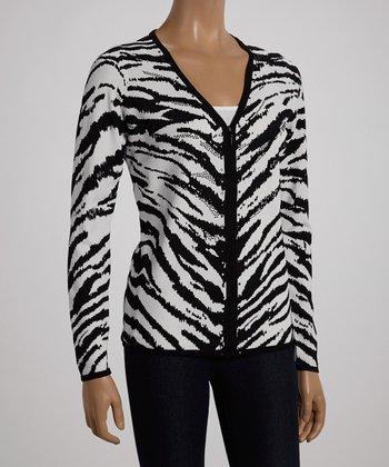 White & Black Zebra Zip-Up Cardigan