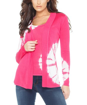 Haute Pink Tie-Dye Rhinestone Open Cardigan