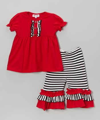Red Tunic & Black Stripe Capri Pants - Infant, Toddler & Girls