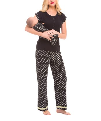 Olian Black Rose Maternity Pajama Set & Infant Gown