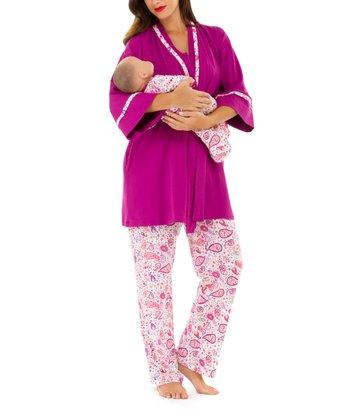 Olian Fuchsia Paisley Maternity Pajama Set & Infant Gown