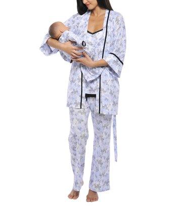Olian Blue Maternity Pajama Set & Infant Gown