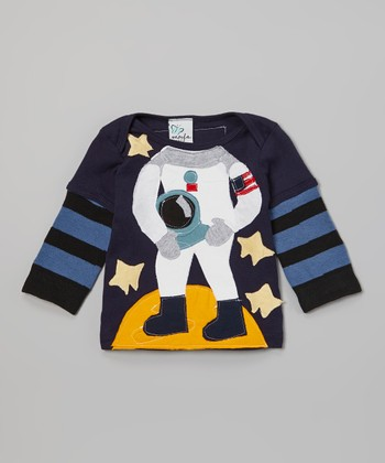 Navy Stripe Astronaut Layered Tee - Infant
