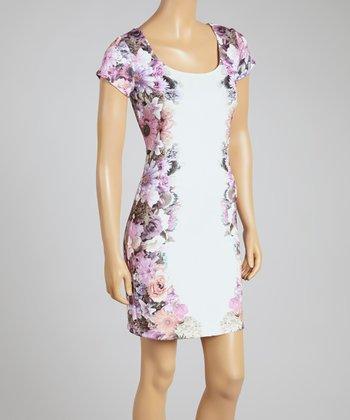Mauve Floral Scoop Neck Dress