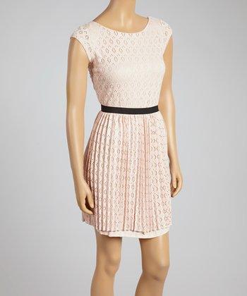 Blush Pointelle Pleated Scoop Neck Dress