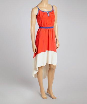 Lipstick Color Block Hi-Low Dress