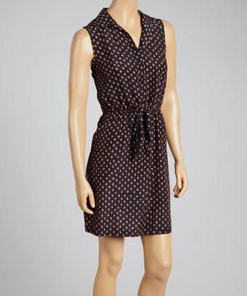 Navy Polka Dot Button-Up Dress