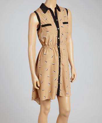 Taupe Bird Button-Up Dress