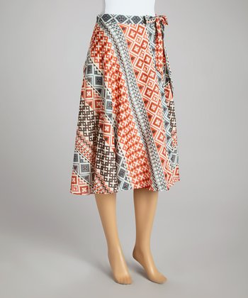 Red & Gray Geometric Belted A-Line Skirt