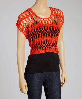 Lipstick Crocheted Crop Top