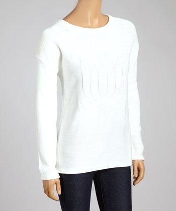 White Embellished Crewneck Sweater