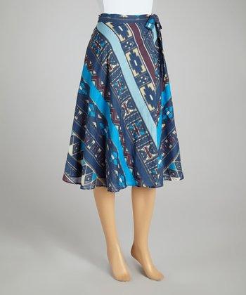 Blue Denim Geometric Belted A-Line Skirt