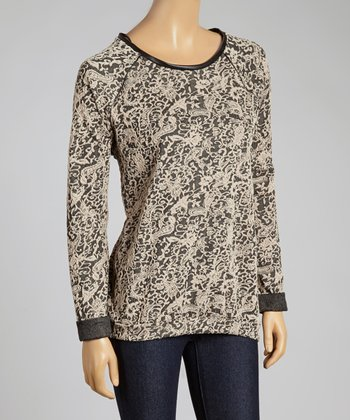 Taupe Paisley Sweater