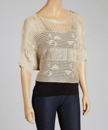 Almond Crocheted Dolman Top