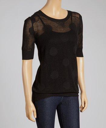 Black Polka Dot Crewneck Sweater